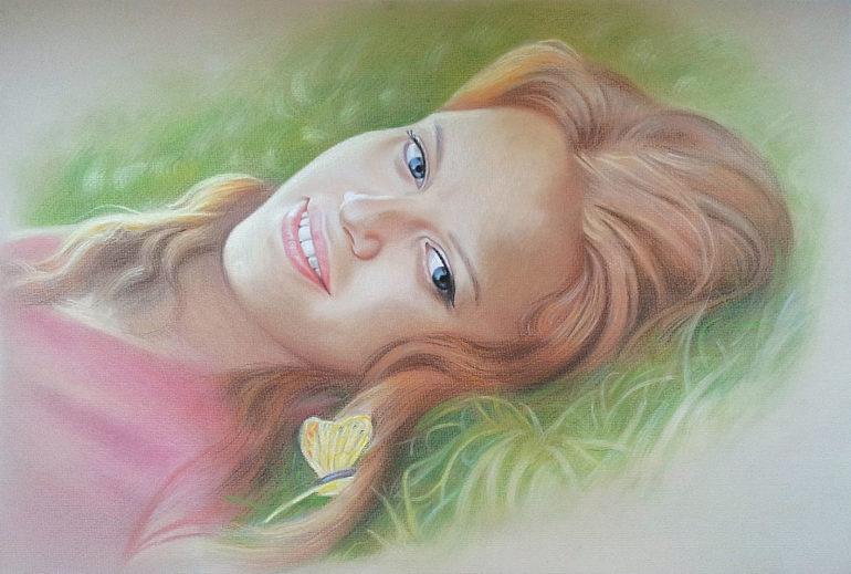 Настоящий портрет пастелью для любимой девушки в Брянске, просто и со вкусом!