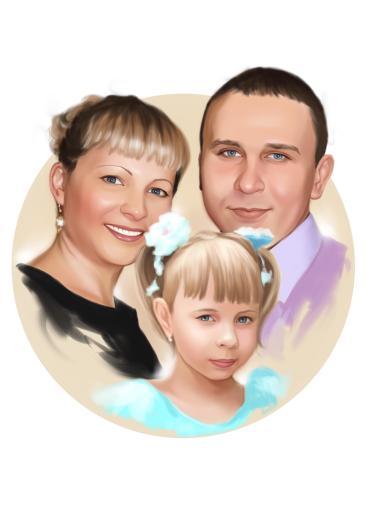 Семейный портрет по фото на холсте в Брянске — правильный подарок!