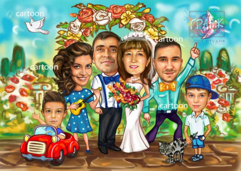 Заказать шарж по фото на годовщину свадьбы в Брянске