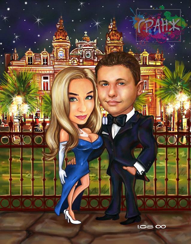 Дружеский шарж в подарок на свадьбу Брянск